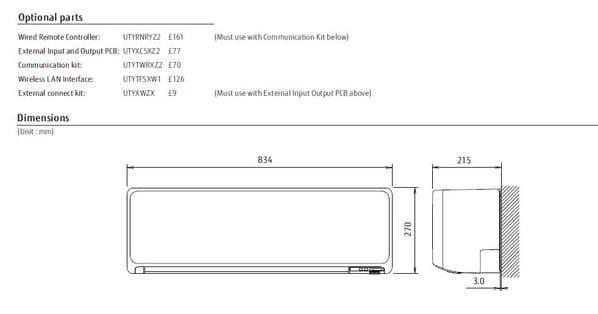 Fujitsu Air conditioning ASYG12KGTA Wall Mount A+++ R32 3.5Kw/12000Btu Install Pack